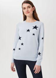 Samira Wool Cashmere Star Jumper, Pale Blue, hi-res