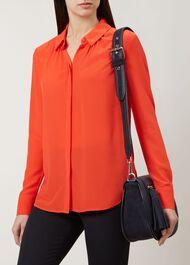 Calla Silk Shirt, Chilli Red, hi-res