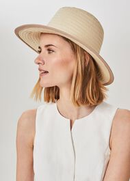 Skylar Straw Fold Up Hat, Neutral, hi-res