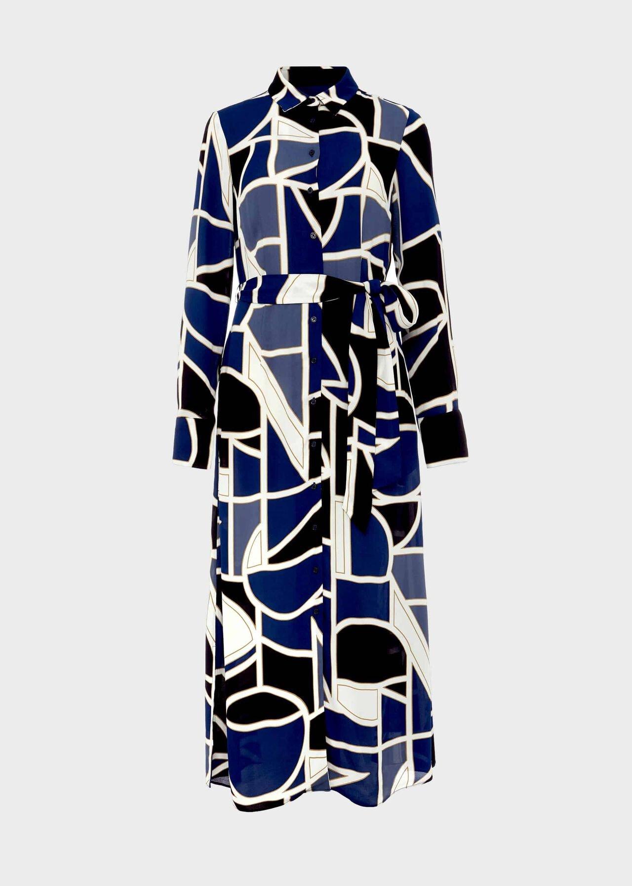 Nadine Geo Midi Dress Blue Multi