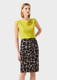 Alaina Animal Pencil Skirt, Black Sand, hi-res