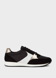 Mara Leather Trainers, Black, hi-res