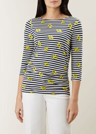 Rebecca Ruched Top, Ivory Multi, hi-res