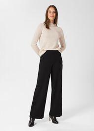 Pippa Jersey Wide Leg Trousers, Black, hi-res