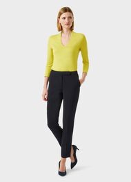 Aimee V Neck Top, Chartreuse, hi-res
