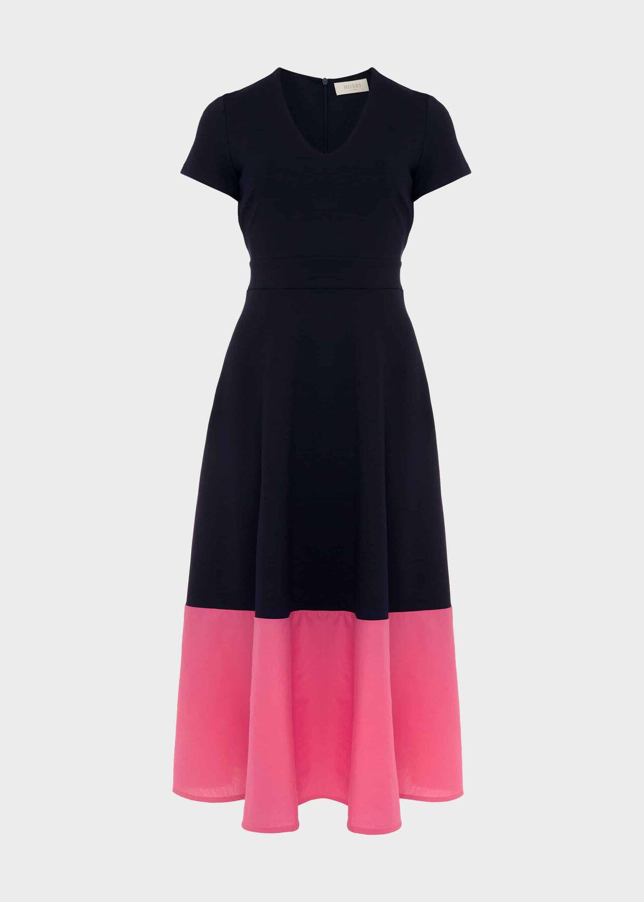 Evangeline Jersey Colourblock Midi Dress Navy Rouge Pink