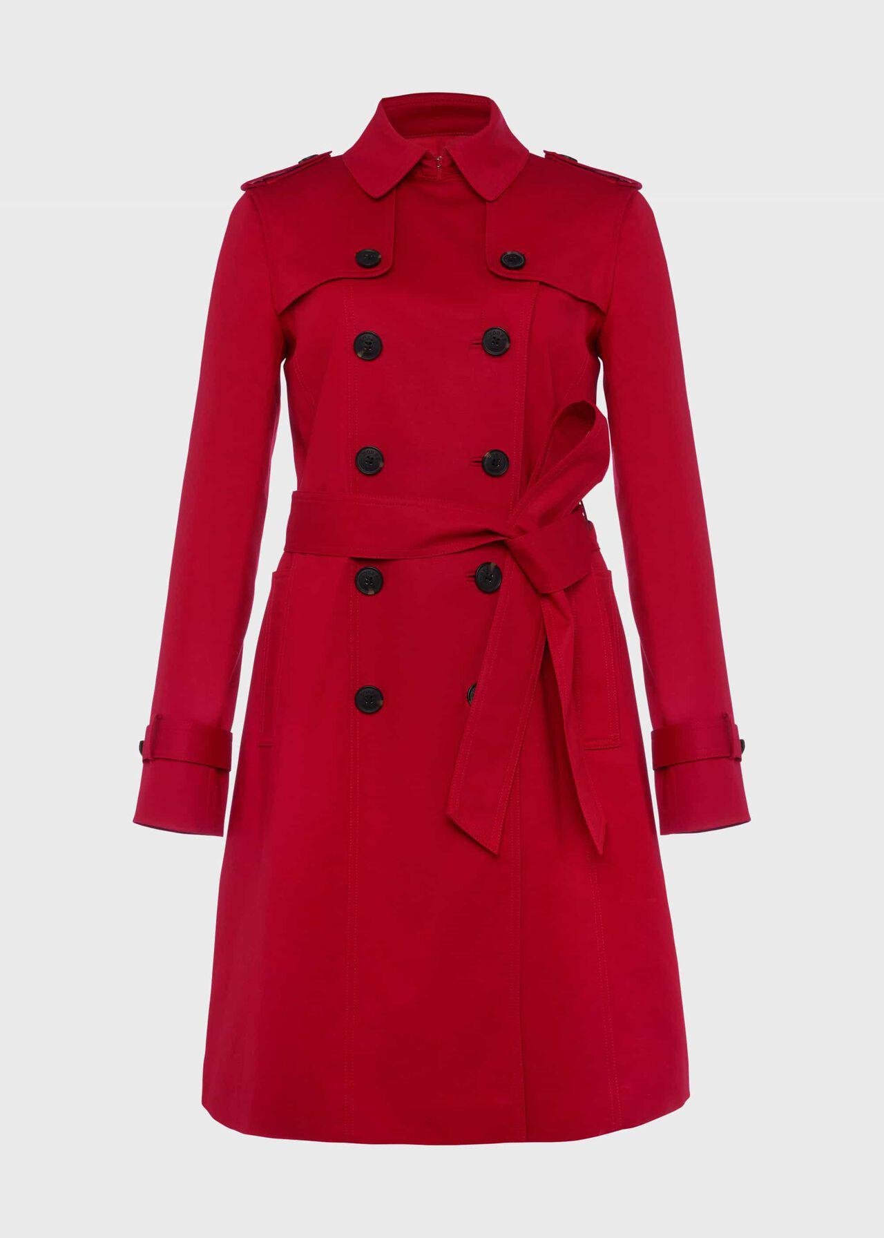 Petite Saskia Water Resistant Trench Coat Red