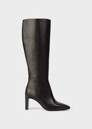 Alma Leather Block Heel Knee Boots, Black, hi-res