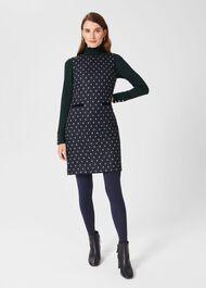 Sarah Wool Dress, Navy Green, hi-res