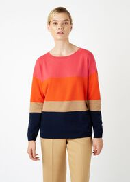 Sofia Wool Cashmere Stripe Jumper, Navy Multi, hi-res