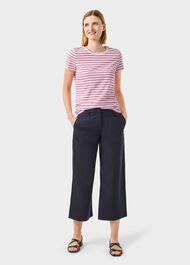 Pixie Cotton Stripe T-Shirt, White Pink, hi-res