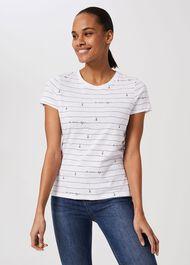 Pixie Cotton Printed T-Shirt, Ivory Navy, hi-res