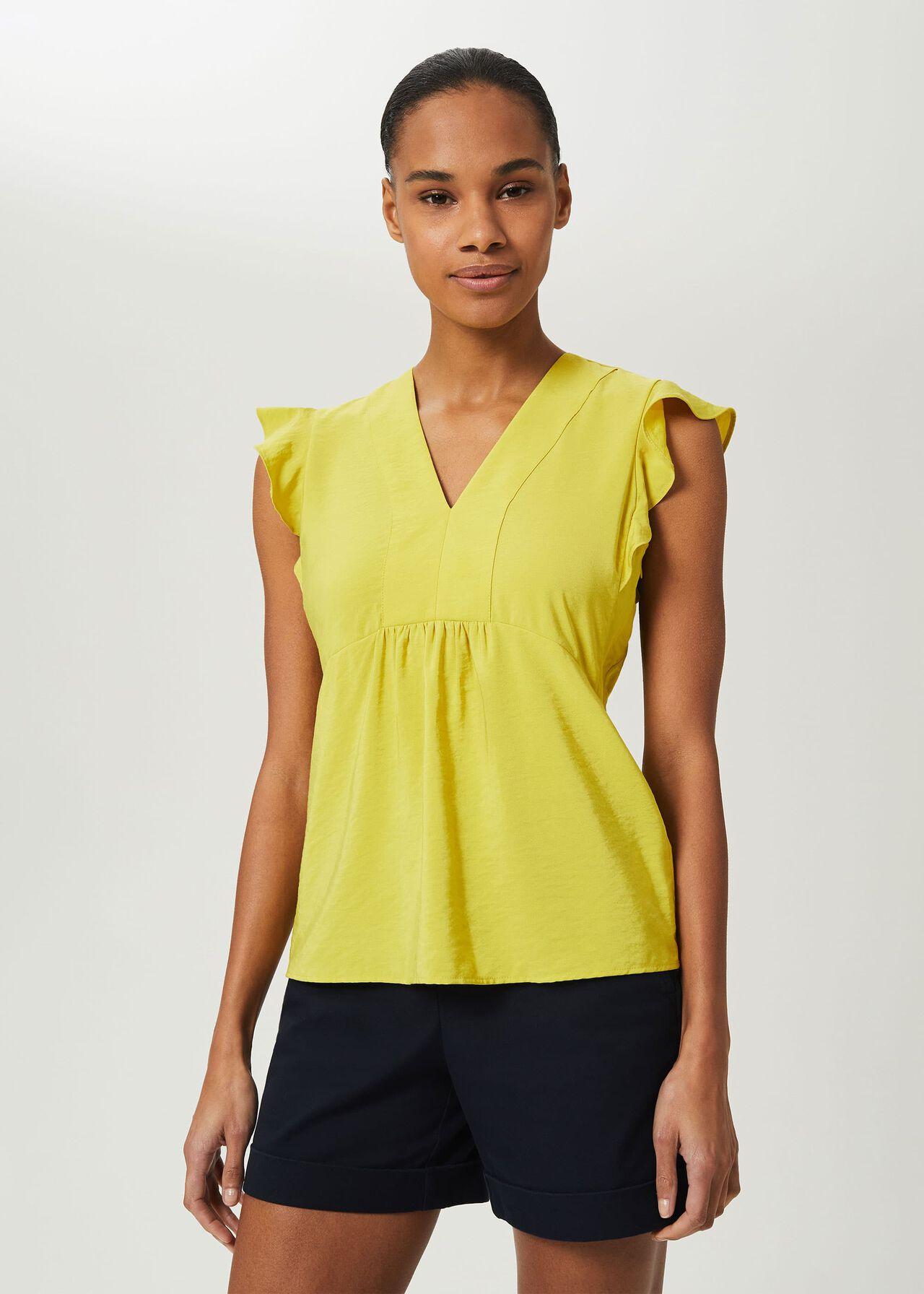 Loren V Neck Top, Yellow, hi-res
