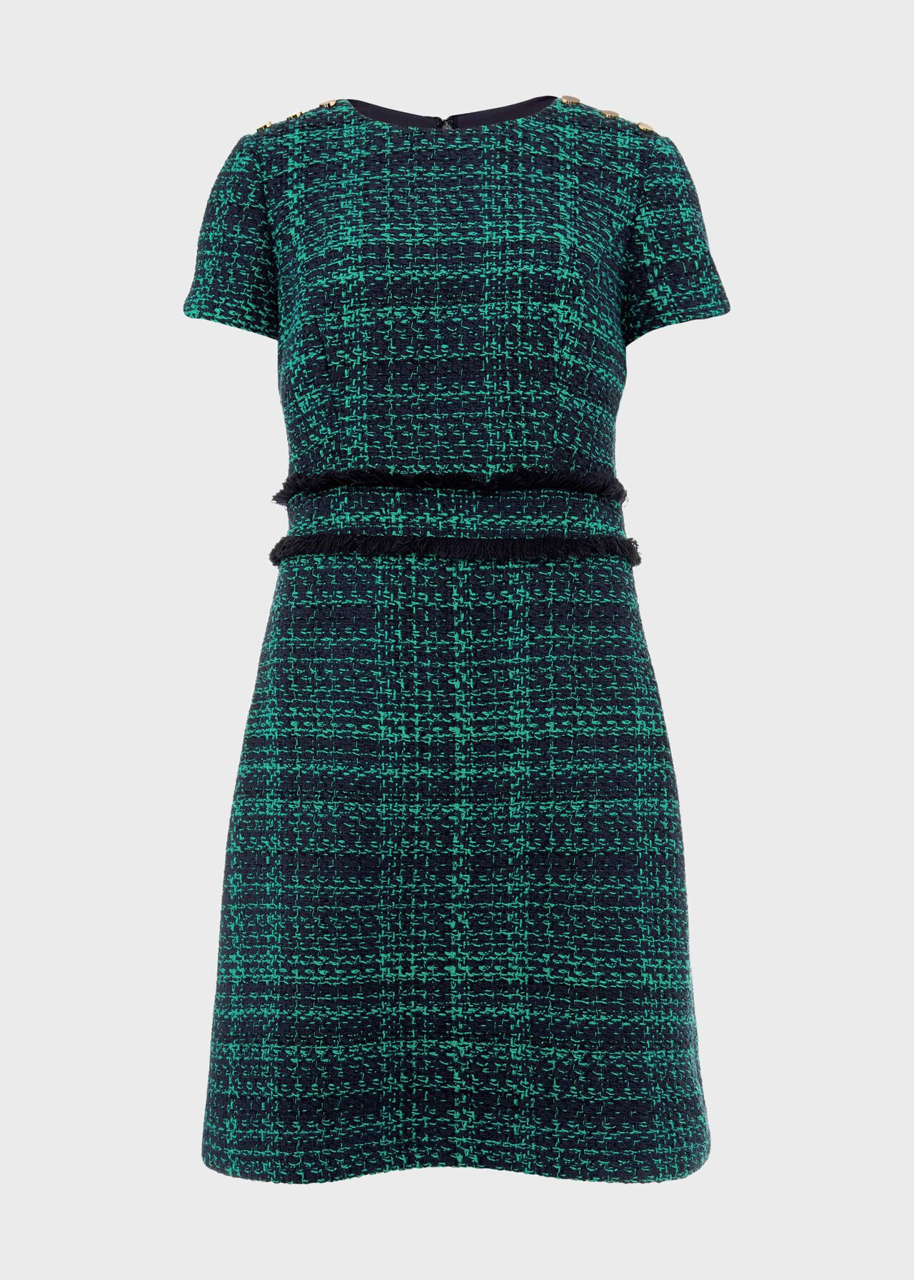 Rosa Tweed A Line Dress Navy Apple Grn