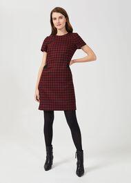 Tallulah Wool A Line Dress, Red Black, hi-res