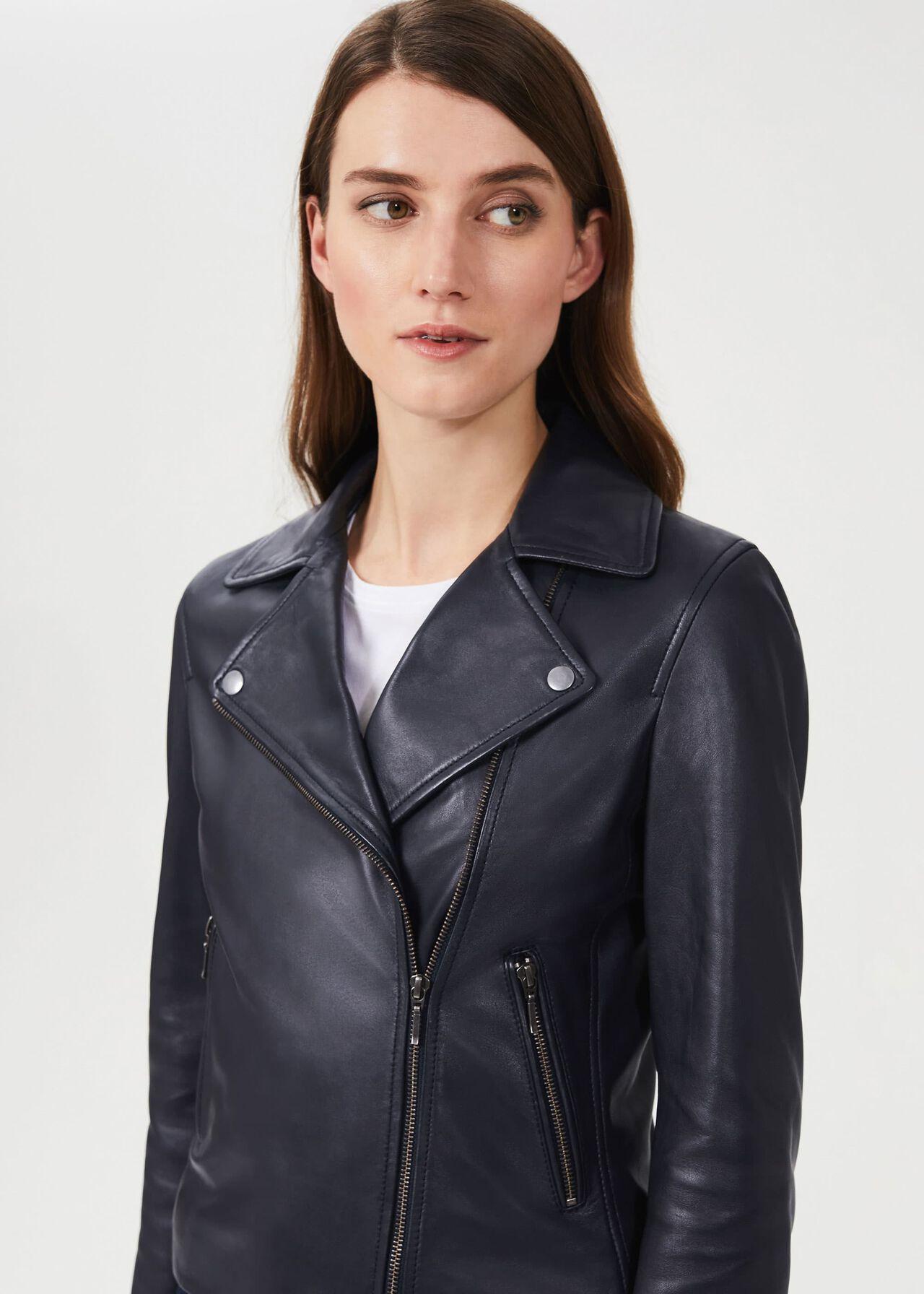 Tania Leather Jacket, Navy, hi-res
