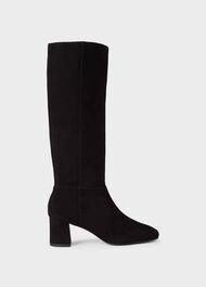 Imogen Suede Block Heel Knee Boots, Black, hi-res