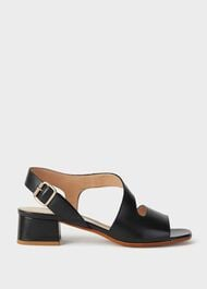 Leather Block Heel Sandals, Navy, hi-res