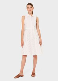 Emelie Cotton Embroidered Fit And Flare Dress, White, hi-res