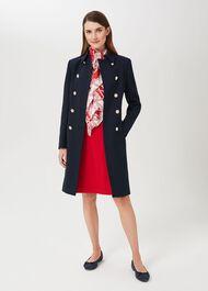 Cecelia Military Coat With Wool, Navy, hi-res