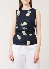 Anika Linen Top, Navy Multi, hi-res