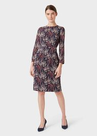 Trina Silk Blend Floral Dress, Midnight Rose, hi-res