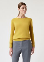 Freya Cashmere Sweater, Saffron, hi-res