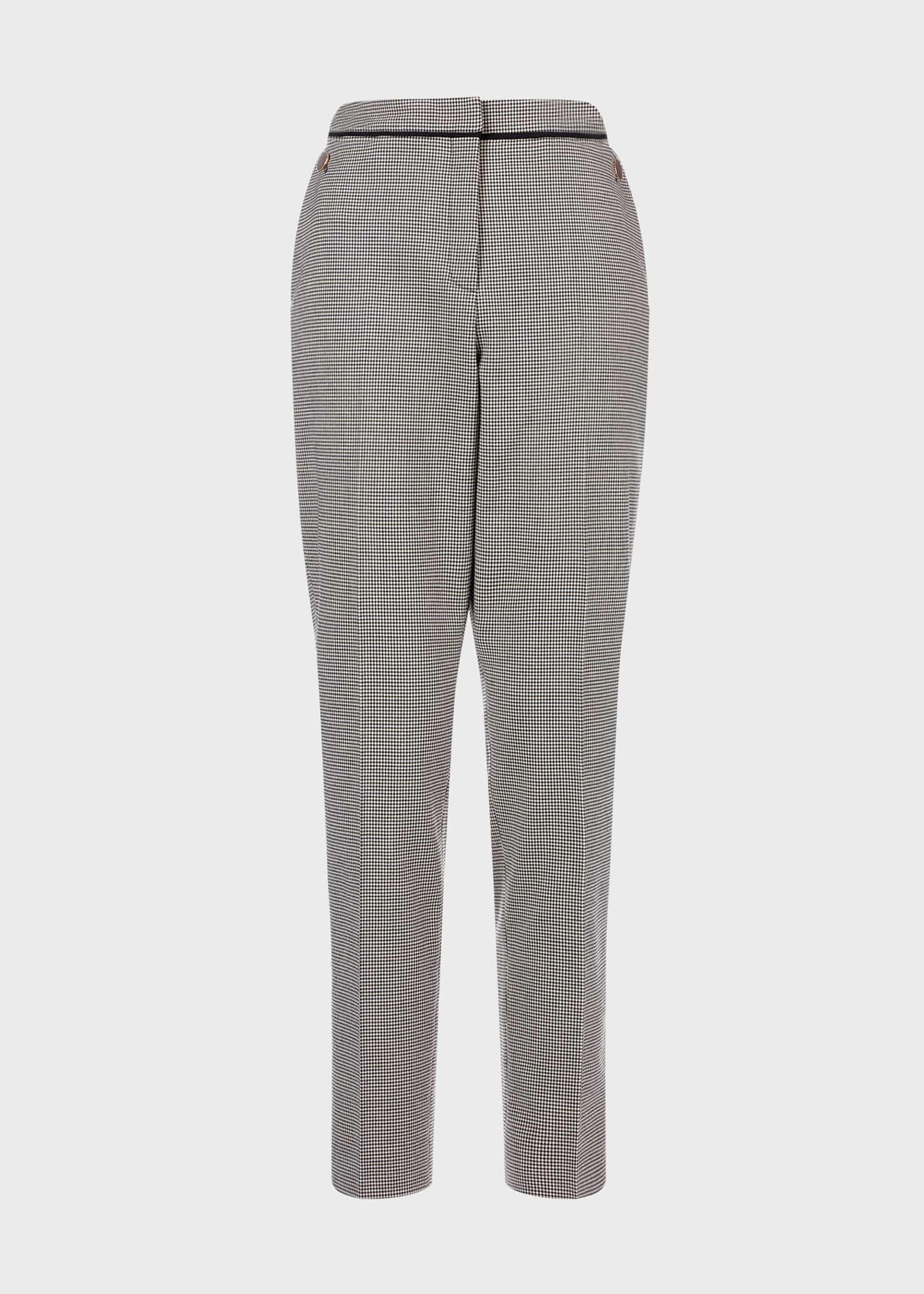 Sienna Houndstooth Slim trousers With Stretch Ivory Black