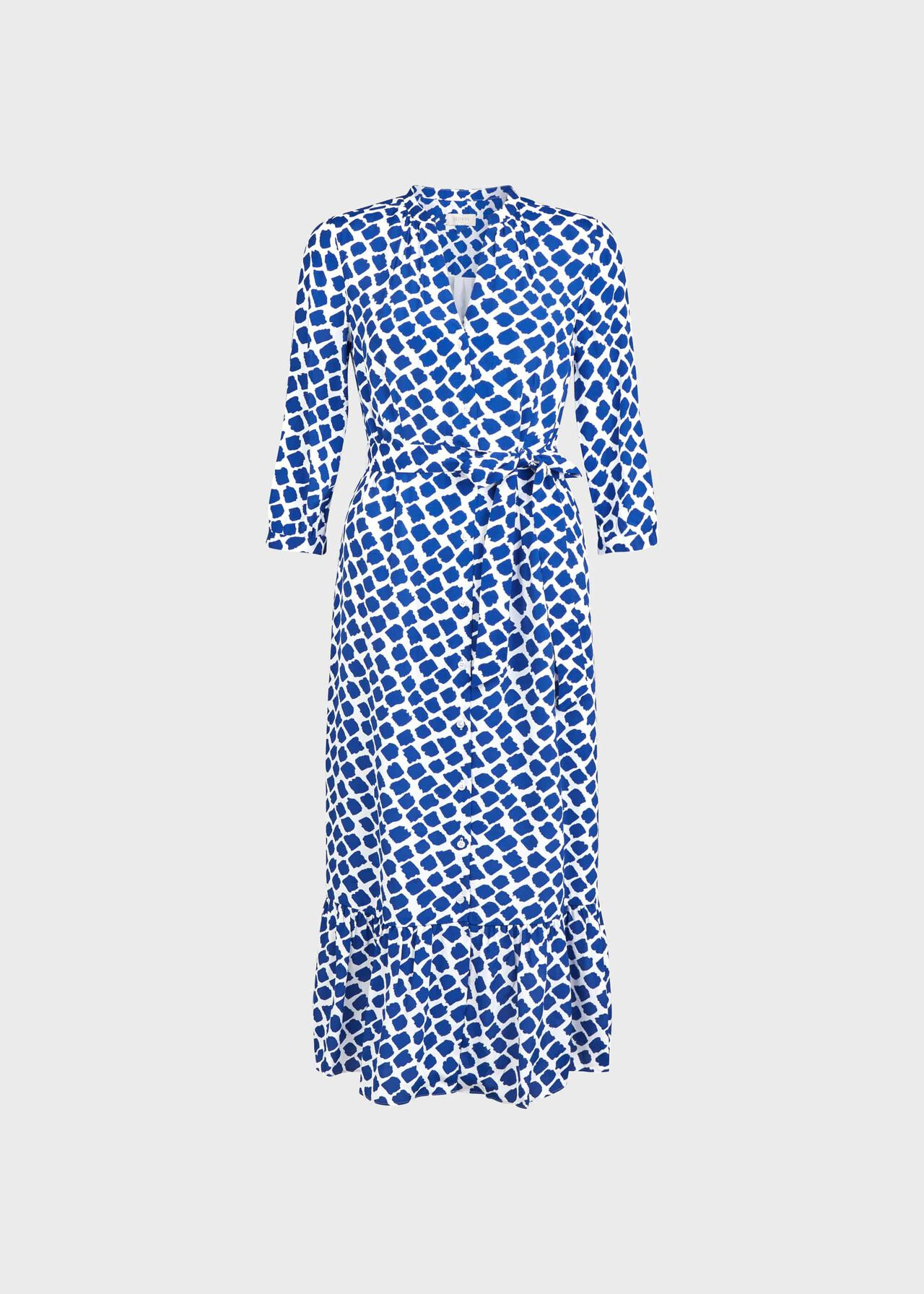 Magda Spot Shirt Dress Cobalt White