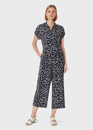 Inez Floral Cropped Jumpsuit, Navy White, hi-res
