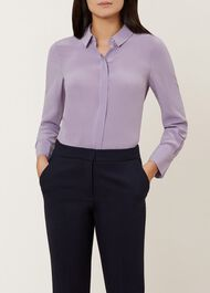 Odette Silk Shirt, Lilac, hi-res