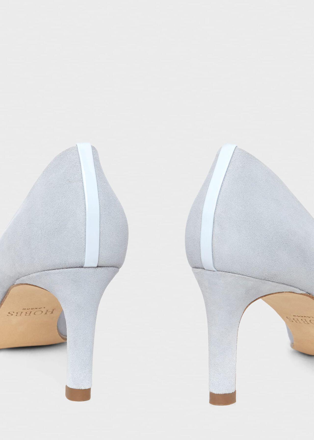 Lizzie Suede Court Shoes , Celeste Blue, hi-res