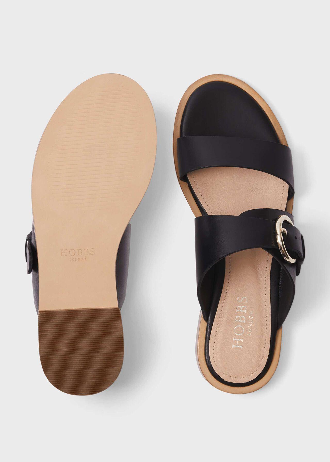 Sienna Leather Sandals , Black, hi-res