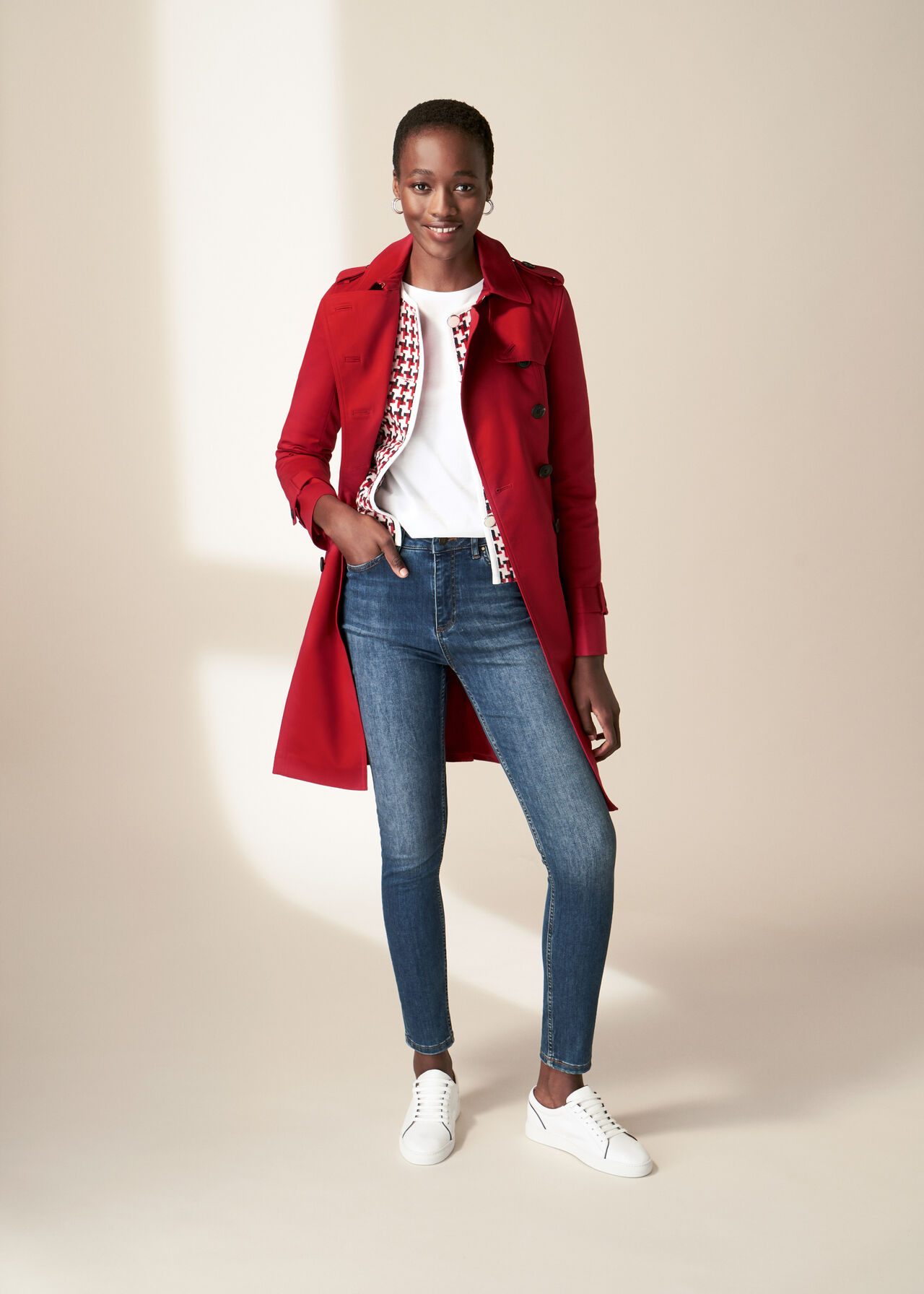 The Red Saskia Trench Coat Outfit, , hi-res