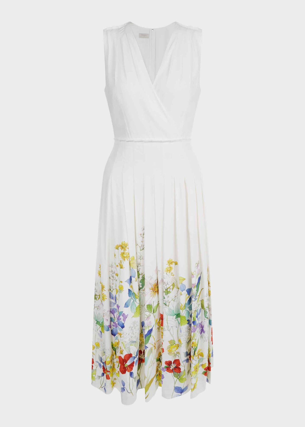 Summer Floral V Neck Midi Dress Ivory Multi