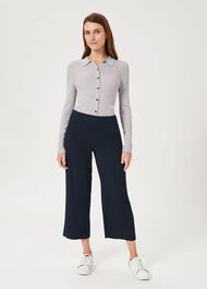 Lula Cropped Trousers With Stretch, Navy, hi-res