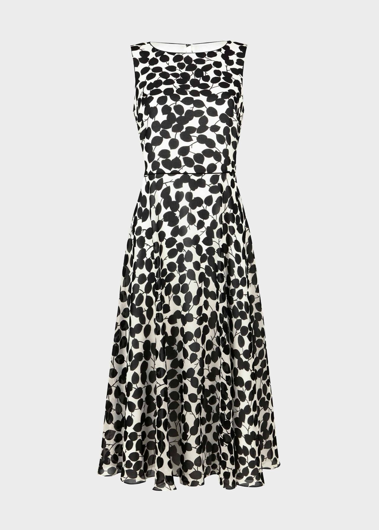 Petite Carly Printed Midi Dress Ivory Black
