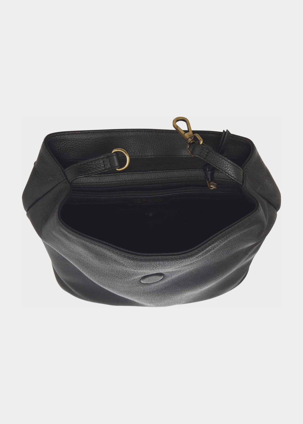 Leather Backpack, Black, hi-res