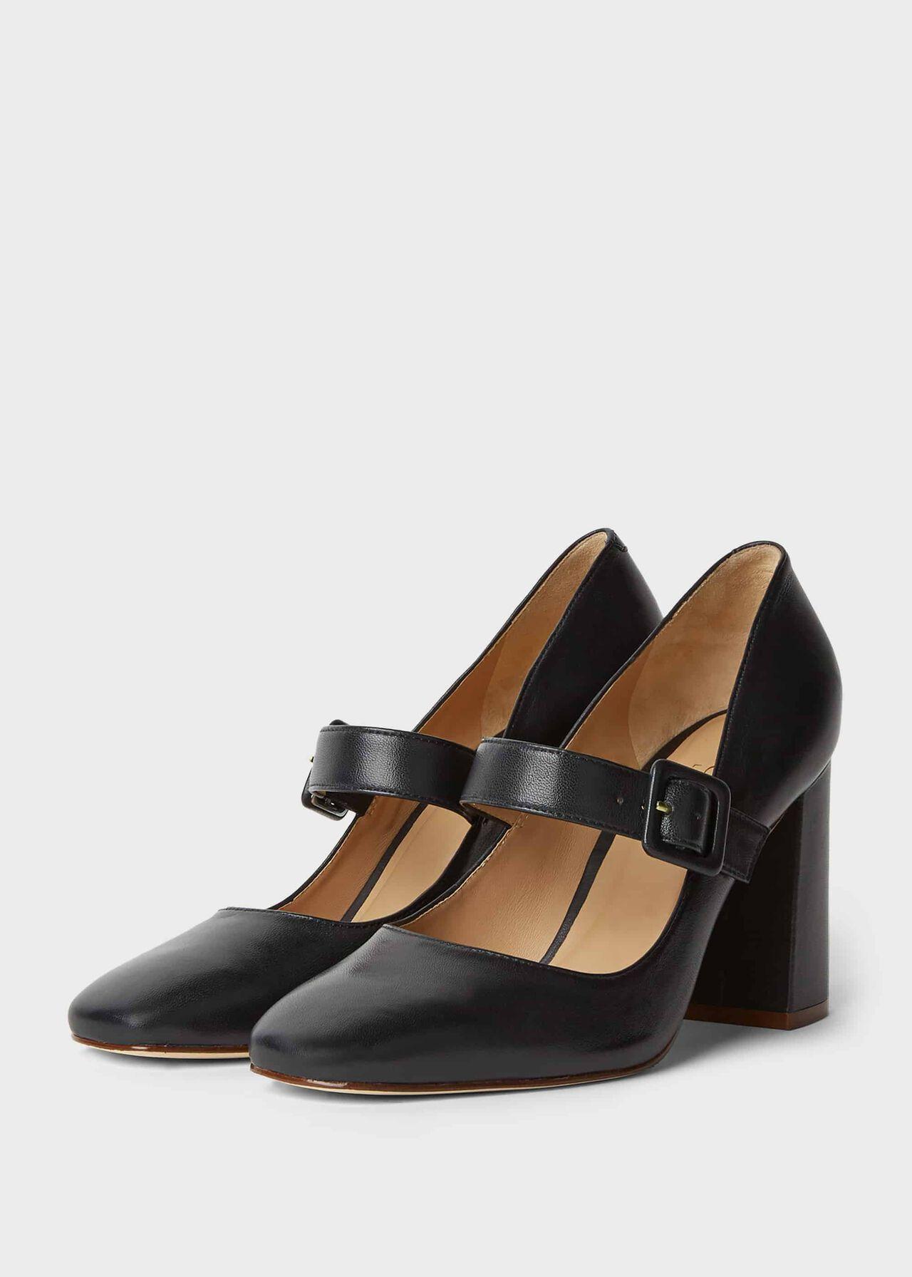 Darcie Leather Block Heel Court Shoes Navy
