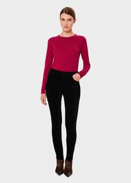 Marianne Velvet Skinny Jeans With Stretch, Black, hi-res