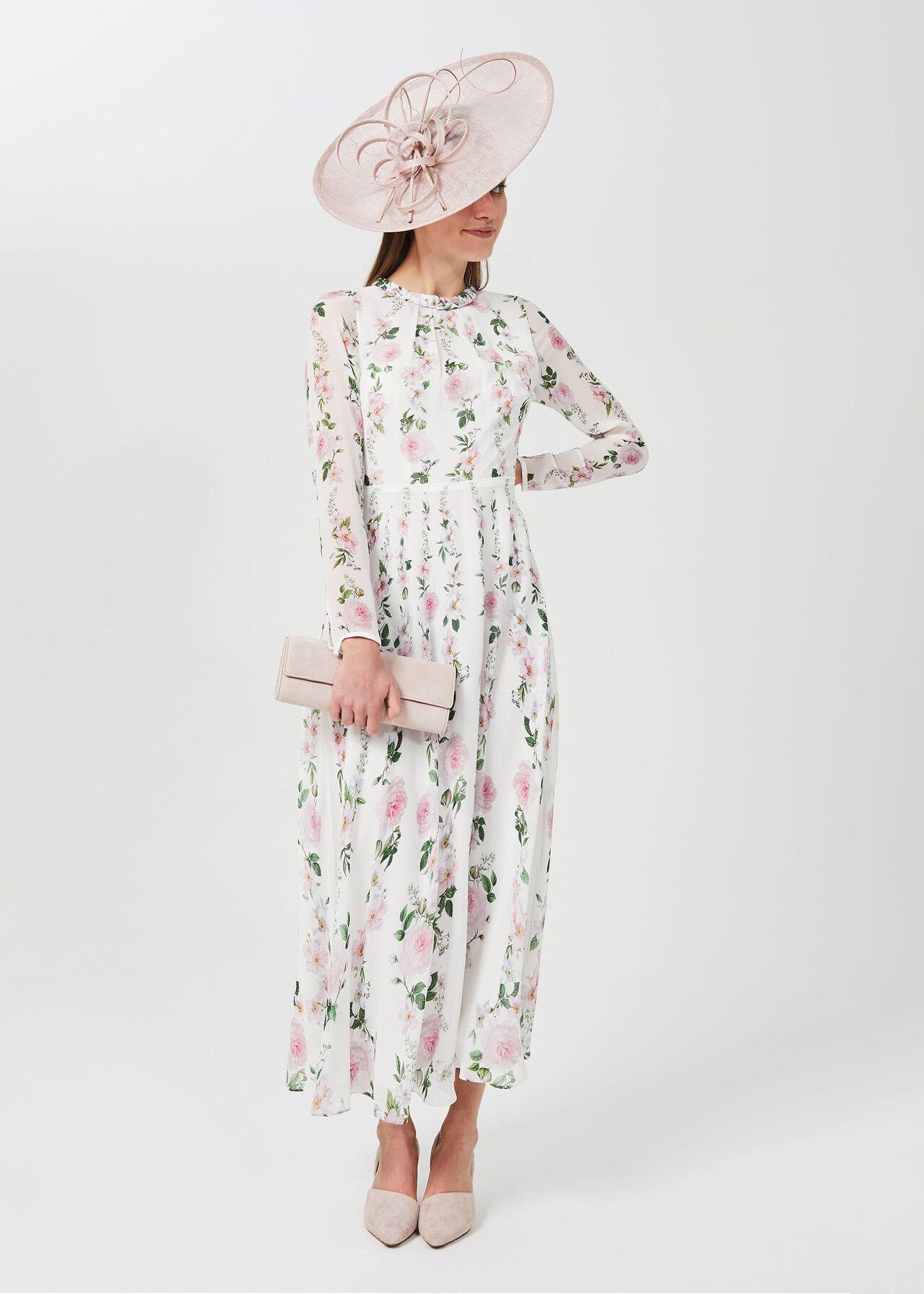 Rosabelle Silk Floral Dress, Ivory Multi, hi-res