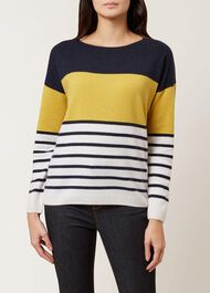 Sofia Wool Cashmere Striped Sweater, Navy Multi, hi-res