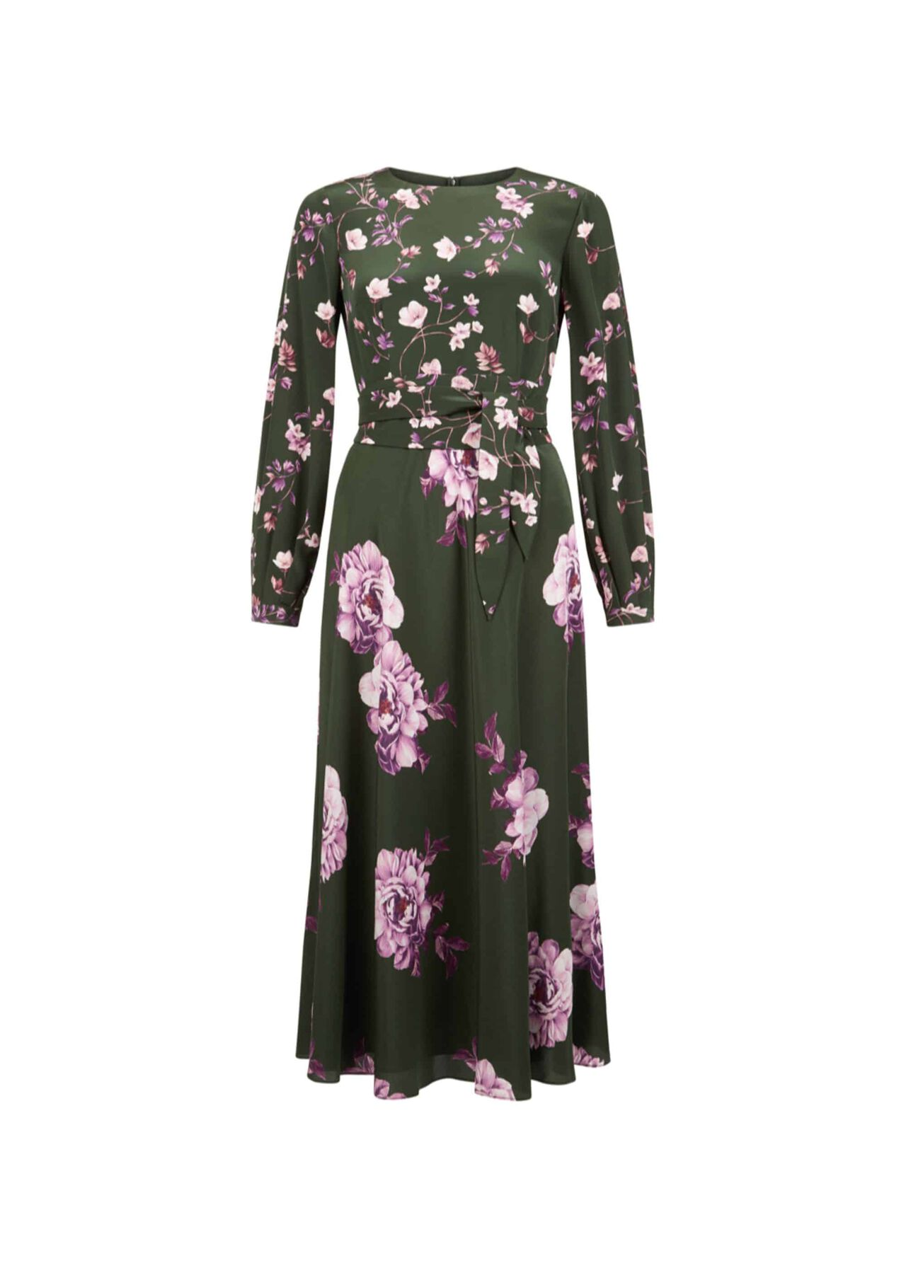 Silk Winter Rose Dress Green Pink