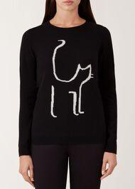 Sophie Wool Cashmere Sweater, Black Ivory, hi-res