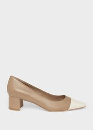 Natalie Leather Block Heel Court Shoes, Fawn, hi-res