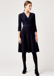 Ellie Knitted Dress, Navy, hi-res