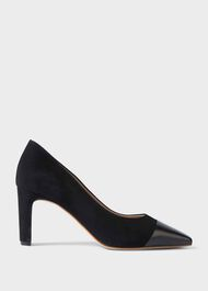 Christina Suede Bock Heel Court Shoes, Black, hi-res