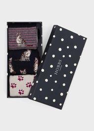 Cat Sock Set, Navy Violet, hi-res