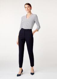 Striped Aimee Top, Ivry French Nvy, hi-res