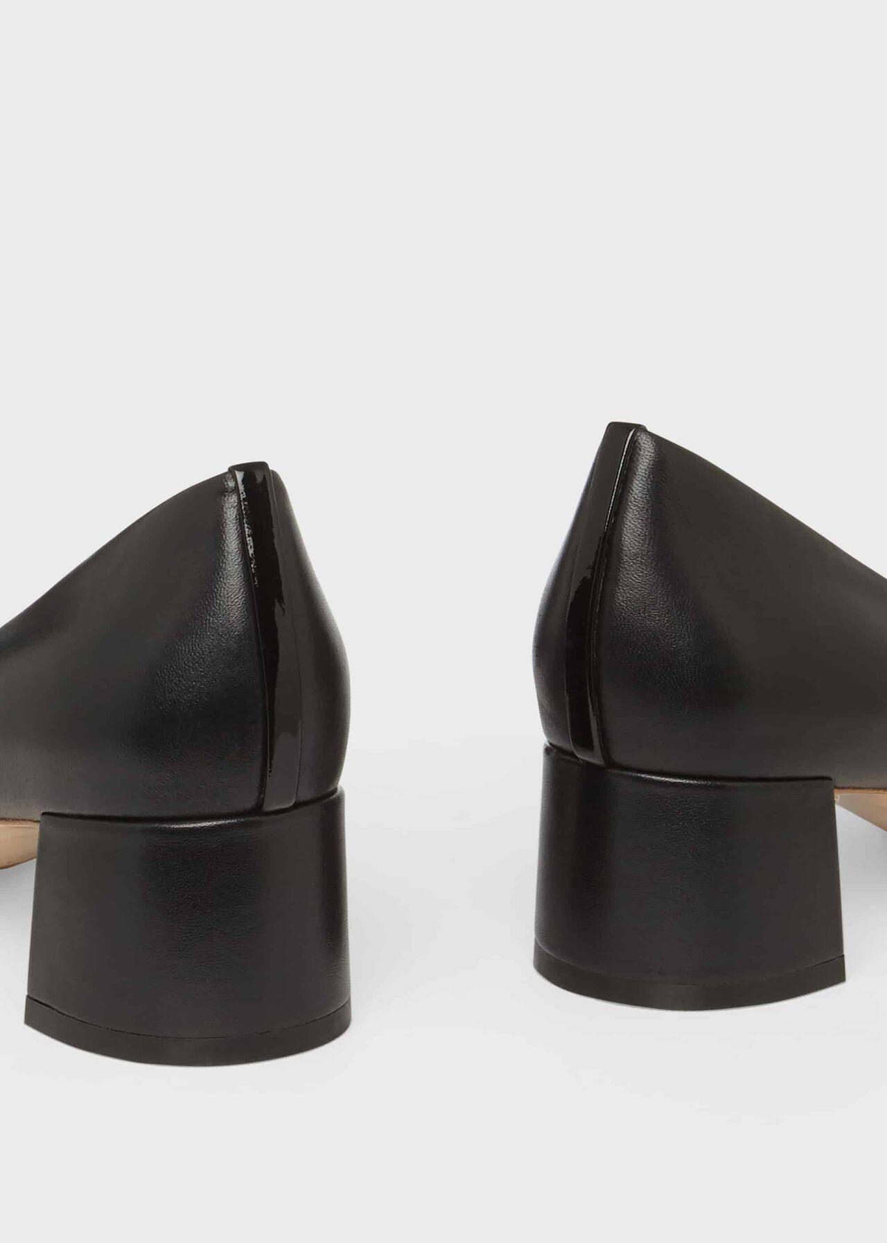 Natalie Leather Court Shoes, Black, hi-res
